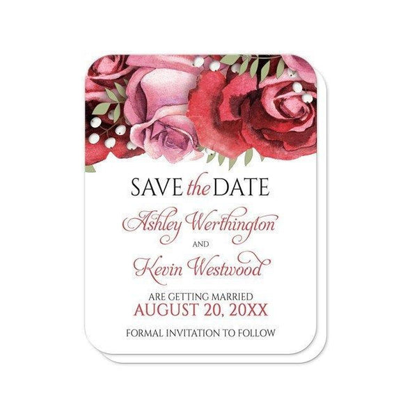 Save the Date Cards - Burgundy Red Pink Rose - rounded corners