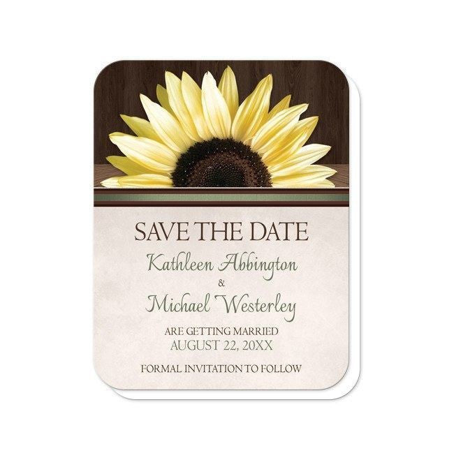Country Sunflower Over Wood Rustic Save the Date Cards