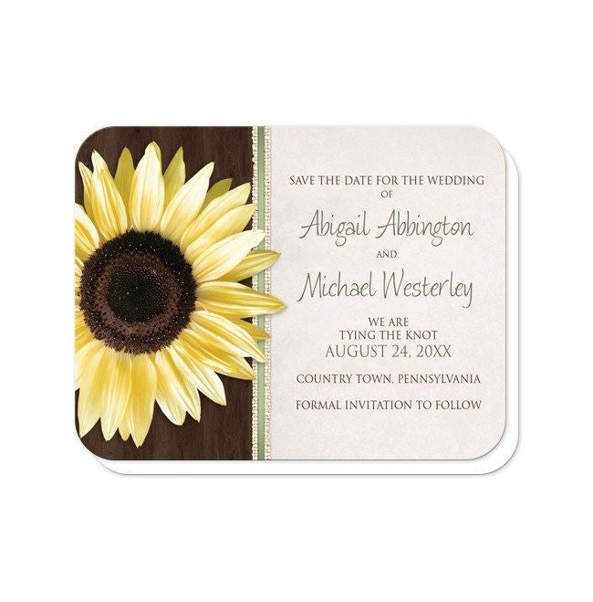Country Sunflower Wood Brown Green Save the Date Cards at  Artistically Invited