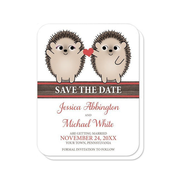 Save the Date Cards - Cute Hedgehogs Holding Red Heart rounded corners