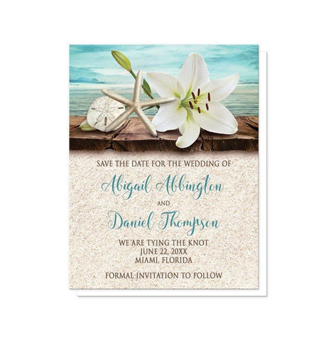 Lily Seashells Sand Beach Save the Date Cards - Artistically Invited