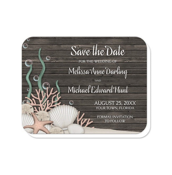 Rustic Beach Seashells and Wood Save the Date Cards - Artistically Invited