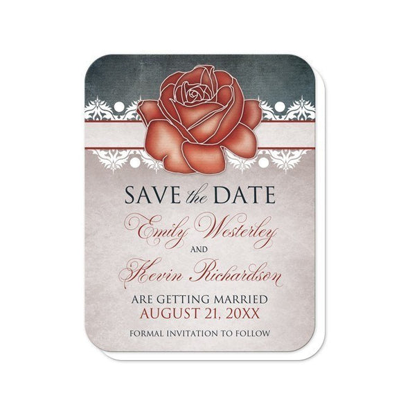 Rustic Country Rose Blue Save the Date Cards - Artistically Invited
