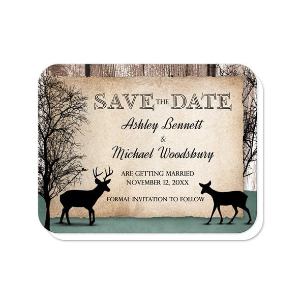 Rustic Deer Woodsy Save the Date Cards - rounded corners