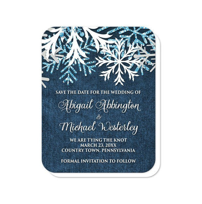 Rustic Snowflake Navy Denim Save the Date Cards at  Artistically Invited