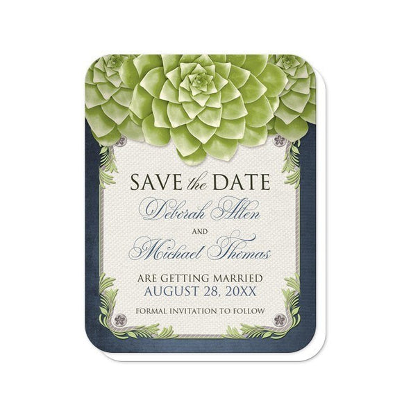 Rustic Succulent Garden Navy Save the Date Cards - Artistically Invited
