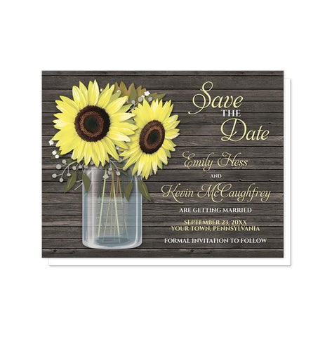 Sunflower Save the Date Cards - Rustic Sunflower Wood Mason Jar Save the Date Cards from Artistically Invited