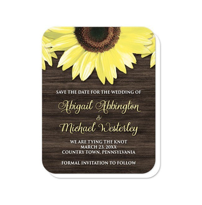 Rustic Sunflower and Wood Save the Date Cards at  Artistically Invited