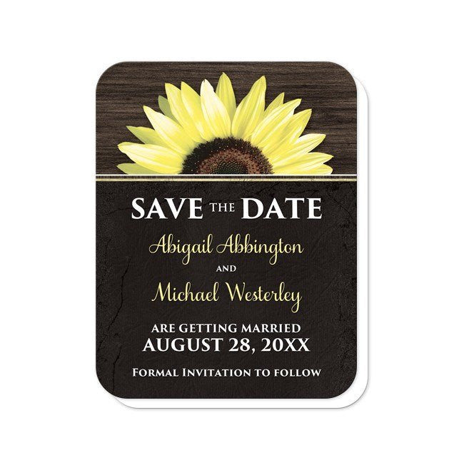 Rustic Sunflower with Black Save the Date Cards at  Artistically Invited