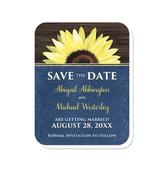 Rustic Sunflower with Blue Save the Date Cards - Artistically Invited