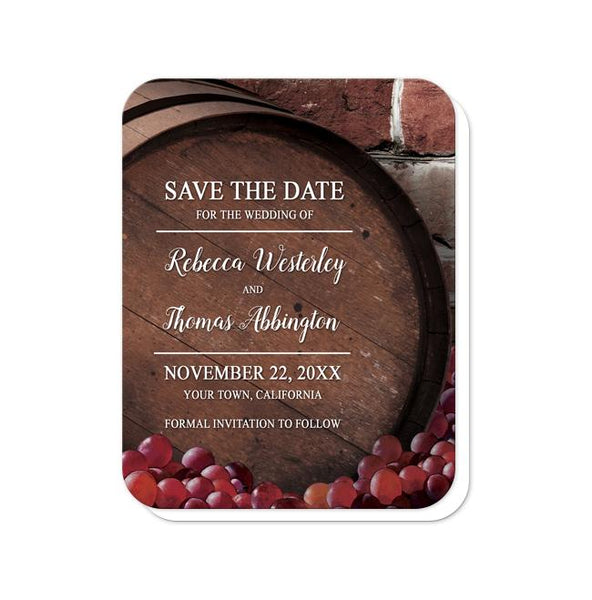 Rustic Wine Barrel Vineyard Save the Date Cards - rounded corners