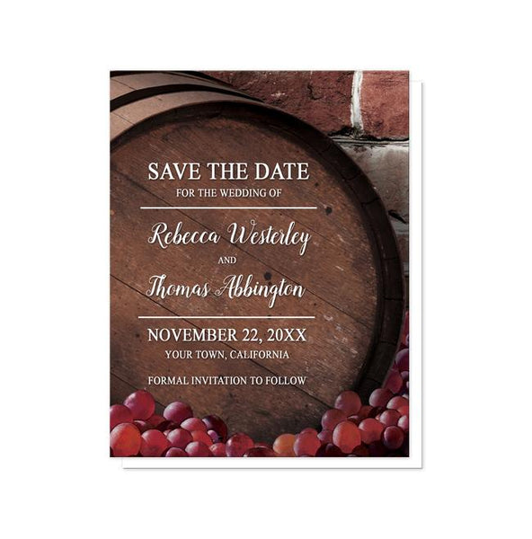Rustic Wine Barrel Vineyard Save the Date Cards