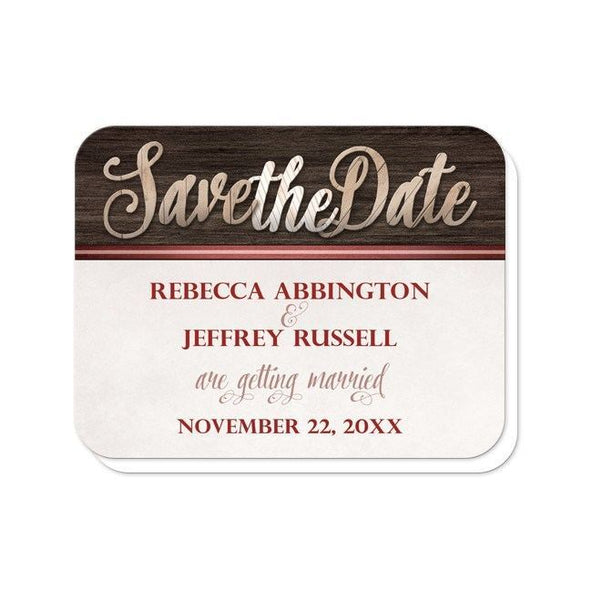 Save the Date Cards - Rustic Wood Lettering with Red - rounded corners