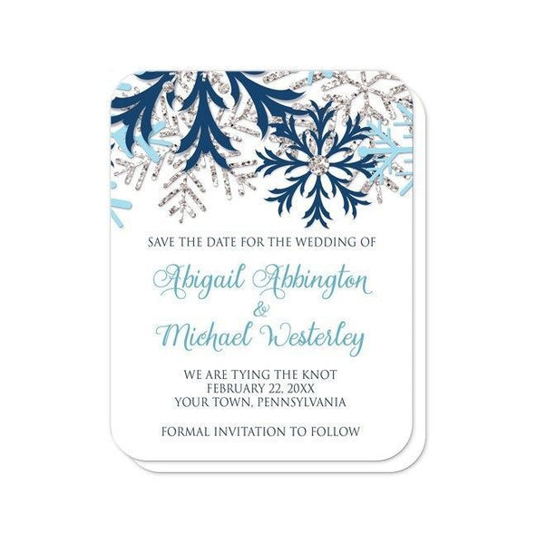 Winter Blue Silver Snowflake Save the Date Cards - rounded corners