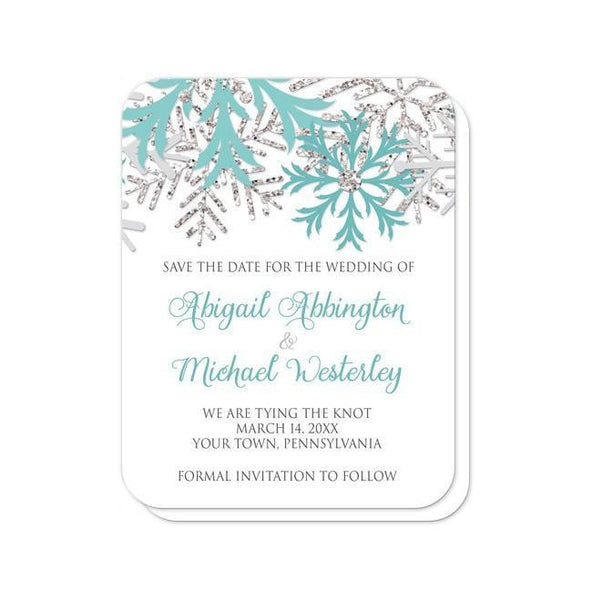 Winter Teal Silver Snowflake Save the Date Cards - Artistically Invited