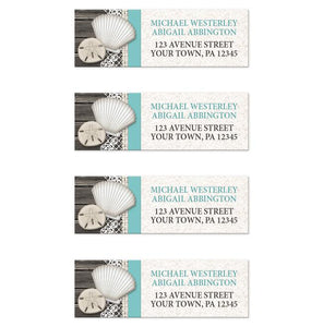 Seashell Lace Wood and Sand Teal Beach Address Labels