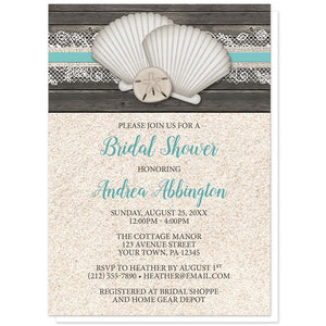 Seashell Lace Wood and Sand Beach Bridal Shower Invitations at Artistically Invited
