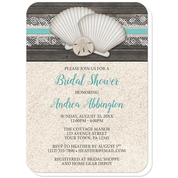 Seashell Lace Wood and Sand Beach Bridal Shower Invitations (rounded corners) at Artistically Invited
