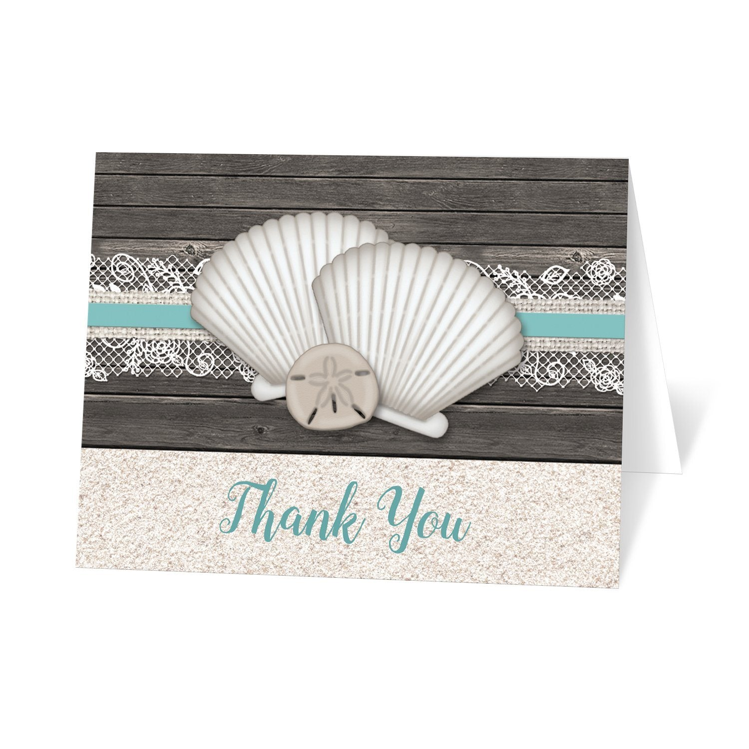 Seashell Lace Wood and Sand Teal Beach Thank You Cards at Artistically Invited