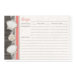 Seashell Lace Wood and Sand Coral Beach Recipe Cards