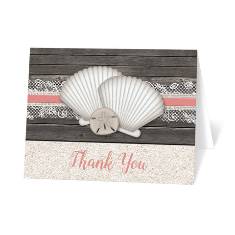 Seashell Lace Wood and Sand Coral Beach Thank You Cards at Artistically Invited