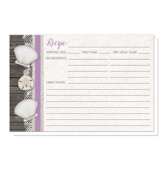 Seashell Lace Wood and Sand Purple Beach Recipe Cards