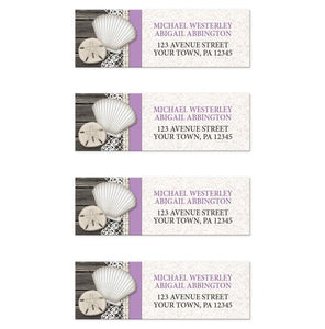 Seashell Lace Wood and Sand Purple Beach Address Labels