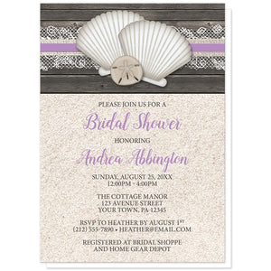 Seashell Lace Wood and Sand Purple Beach Bridal Shower Invitations at Artistically Invited