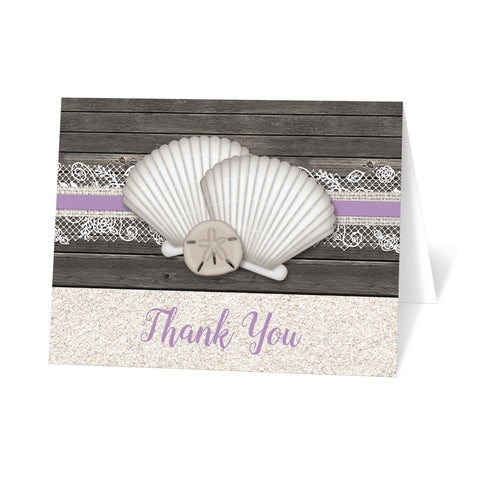 Seashell Lace Wood and Sand Purple Beach Thank You Cards at Artistically Invited