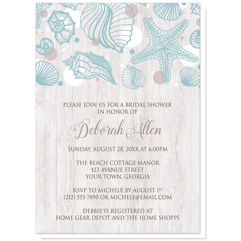Seashell Whitewashed Wood Beach Bridal Shower Invitations at Artistically Invited