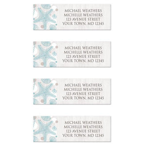 Seashell Whitewashed Wood Beach Address Labels