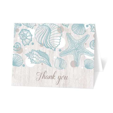 Seashell Whitewashed Wood Beach Thank You Cards at Artistically Invited