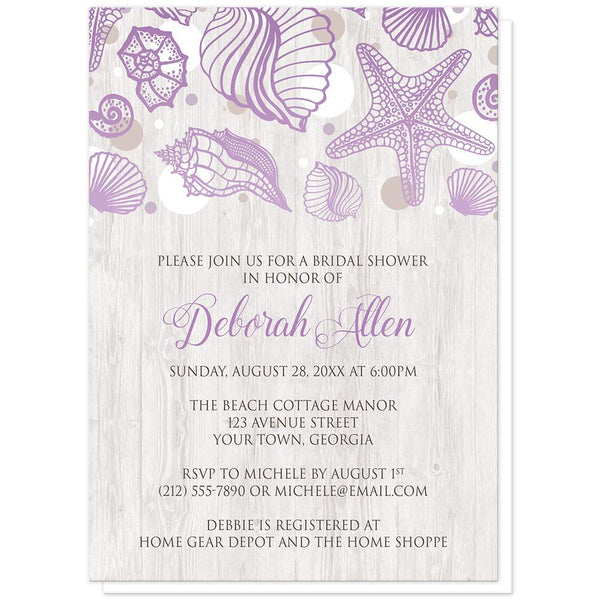 Seashell Whitewashed Wood Purple Beach Bridal Shower Invitations at Artistically Invited