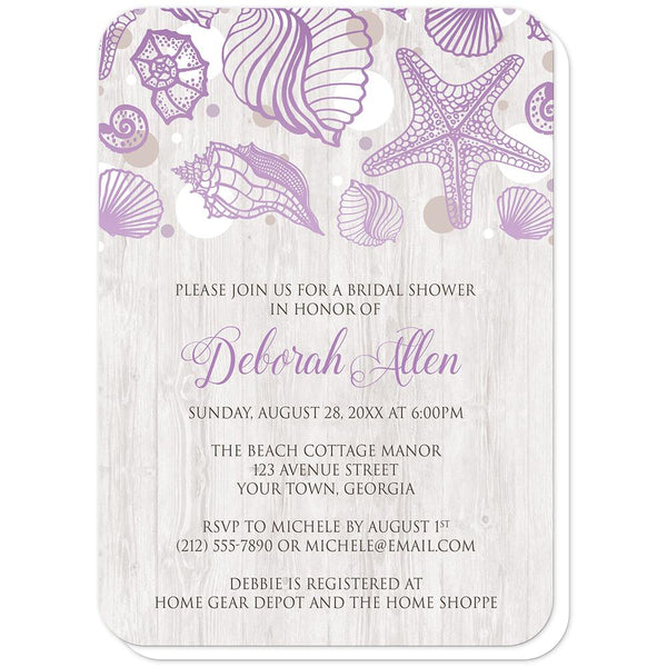 Seashell Whitewashed Wood Purple Beach Bridal Shower Invitations (rounded corners) at Artistically Invited
