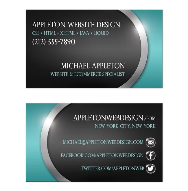 Sleek Teal with Social Contact Buttons Business Cards