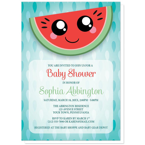Smiling Watermelon Slice Baby Shower Invitations at Artistically Invited