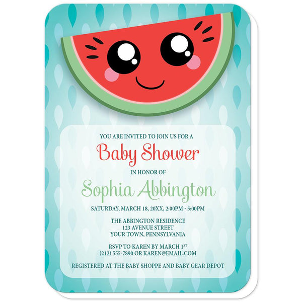 Smiling Watermelon Slice Baby Shower Invitations (rounded corners) at Artistically Invited