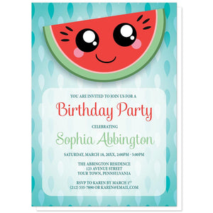 Smiling Watermelon Slice - Watermelon Birthday Party Invitations at Artistically Invited