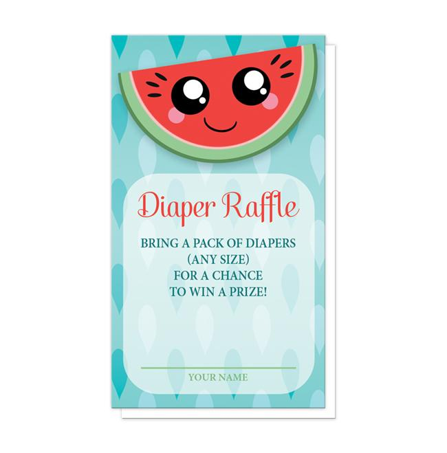 Smiling Watermelon Slice Diaper Raffle Cards at Artistically Invited
