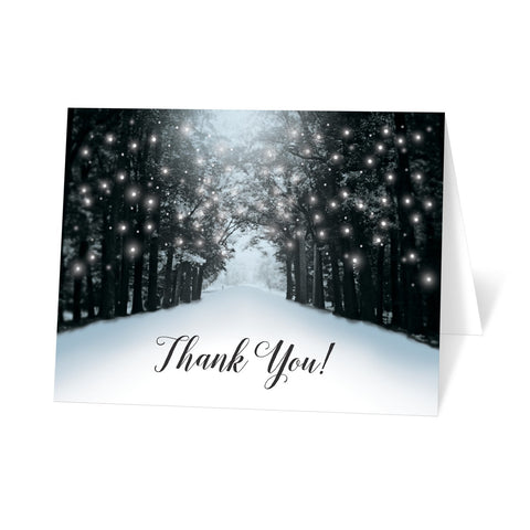 Snowy Winter Road Tree Lights Thank You Cards at Artistically Invited