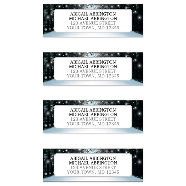 Snowy Winter Road Tree Lights - Winter Address Labels at Artistically Invited