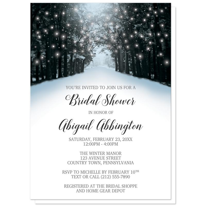 Winter Bridal Shower Invitations - Snowy Winter Road Tree Lights Bridal Shower Invitations (Winter Wonderland) at Artistically Invited