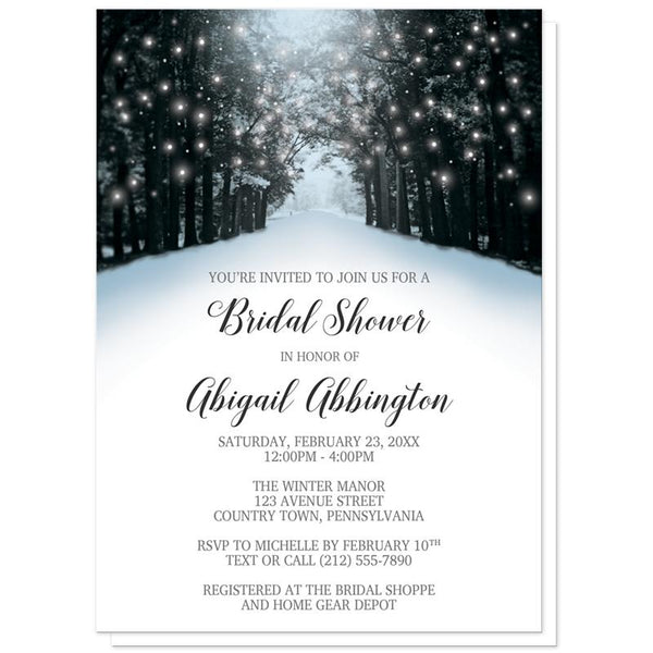 Snowy Winter Road Tree Lights Bridal Shower Invitations at Artistically Invited