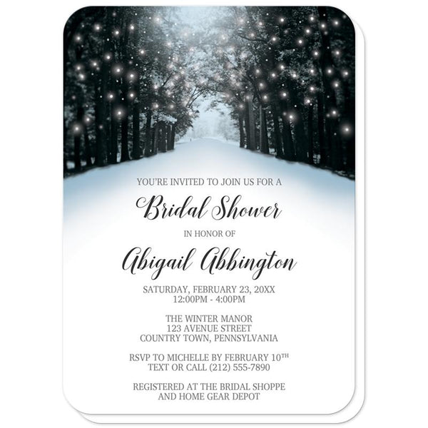 Snowy Winter Road Tree Lights Bridal Shower Invitations (rounded corners) at Artistically Invited