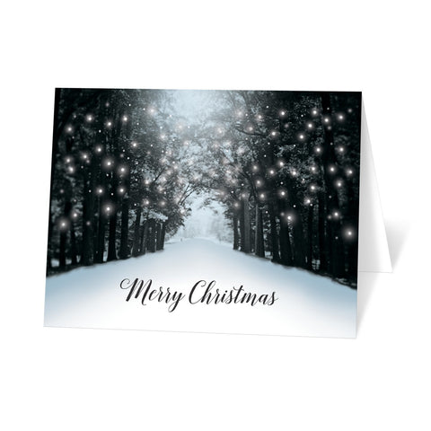 Snowy Winter Road Tree Lights Merry Christmas Cards at Artistically Invited