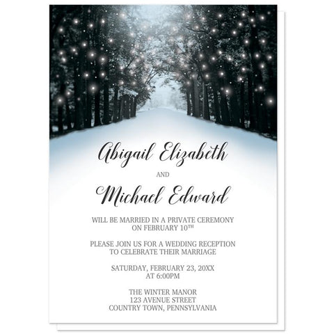 Winter Reception Only Invitations - Snowy Winter Road Tree Lights (Winter Wonderland) Reception Only Invitations at Artistically Invited