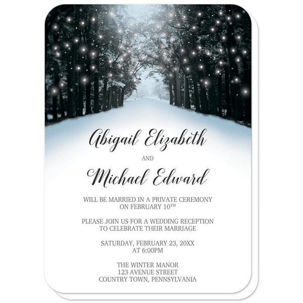Snowy Winter Road Tree Lights Reception Only Invitations (rounded corners) at Artistically Invited