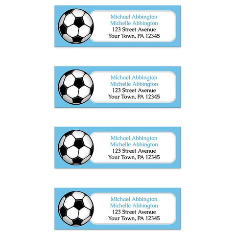 Blue Soccer Ball Return Address Labels at Artistically Invited