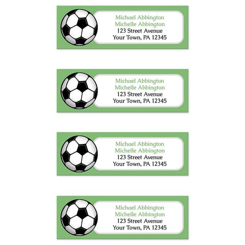 Green Soccer Ball Return Address Labels at Artistically Invited