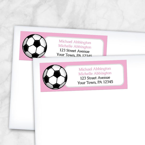 Pink Soccer Ball Return Address Labels at Artistically Invited
